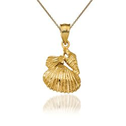 "14kt Yellow Gold Shell Pendant Necklace. 18"", , default"
