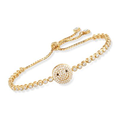 Italian 1.85 ct. t.w. CZ Happy Face Bolo Bracelet in 14kt Yellow Gold Over Sterling, , default