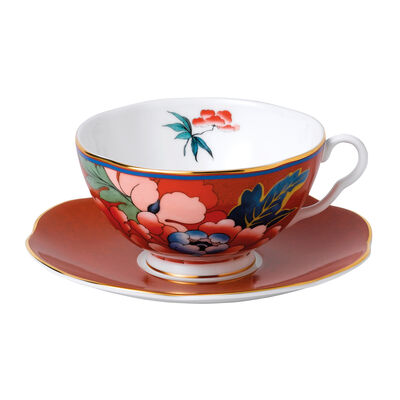 "Wedgwood ""Paeonia Blush"" Red Teacup and Saucer Set, , default"