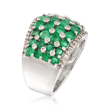 2.90 ct. t.w. Emerald and .33 ct. t.w. Diamond Ring in Sterling Silver, , default