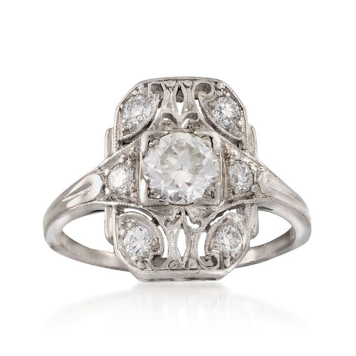C. 1990 Vintage .80 ct. t.w. Diamond Ring in Platinum. Size 5.75, , default