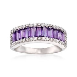 1.10 ct. t.w. Amethyst and .30 ct. t.w. White Zircon Ring in Sterling Silver. Size 9, , default
