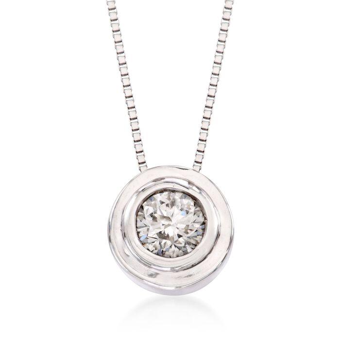 """.25 Carat Bezel-Set Diamond Solitaire Necklace in 14kt White Gold. 18"""", , default"""