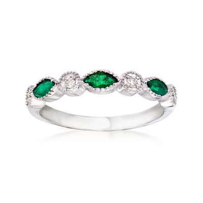 .30 ct. t.w. Emerald Ring with Diamond Accents in 14kt White Gold