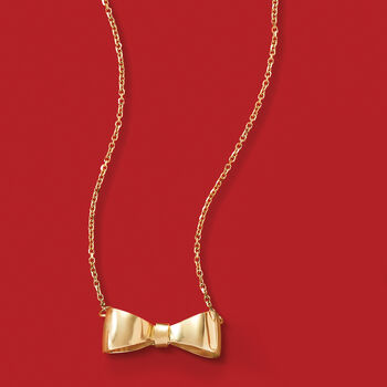 Italian 14kt Yellow Gold Bow Necklace, , default