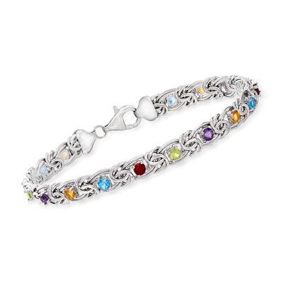 3.00 ct. t.w. Multi-Gemstone Byzantine Bracelet in Sterling Silver