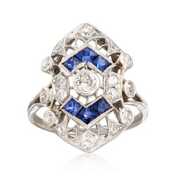 C. 1950 Vintage .50 ct. t.w. Sapphire and .45 ct. t.w. Diamond Shield Ring in Platinum, , default
