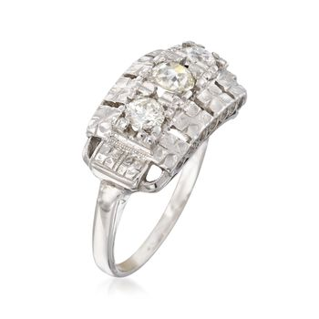 C. 1950 Vintage .58 ct. t.w. Diamond Floral Engraved Ring in 14kt White Gold. Size 6