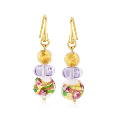 Italian Multicolored Murano Glass Bead Earrings in 18kt Gold Over Sterling, , default