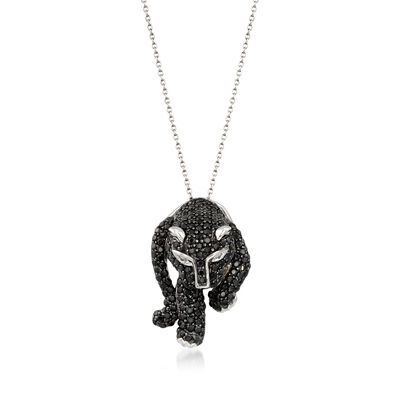 4.40 ct. t.w. Black Spinel Panther Pendant Necklace With White Topaz in Sterling Silver, , default