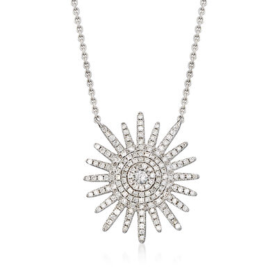 .51 ct. t.w. Diamond Star Necklace in 14kt White Gold, , default