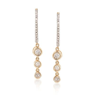 .29 ct. t.w. Bezel-Set Diamond Drop Earrings in 14kt Yellow Gold, , default