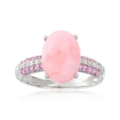 Pink Opal, .30 ct. t.w. Pink Sapphire and .10 ct. t.w. Diamond Ring in 14kt White Gold