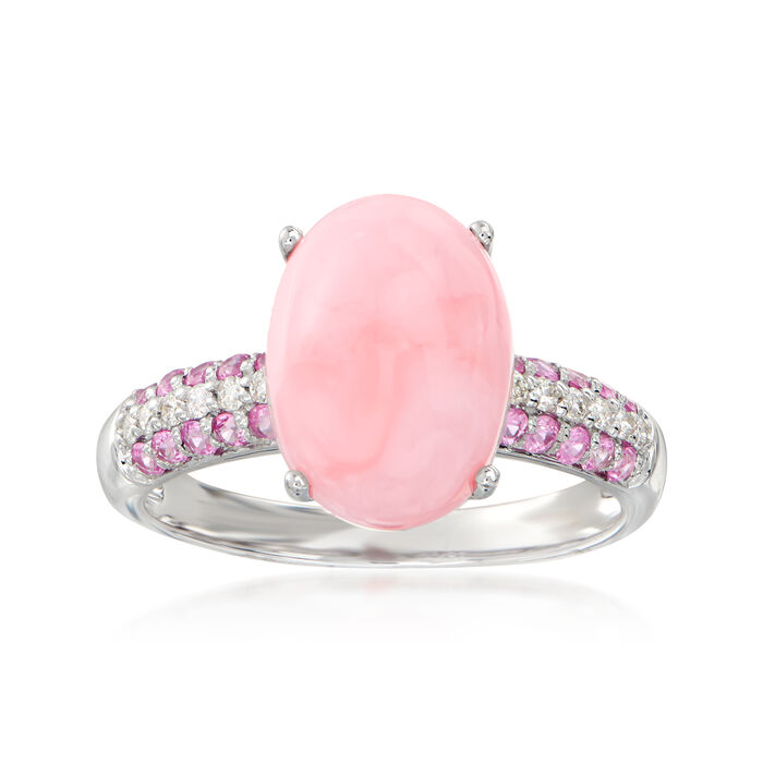 Pink Opal, .30 ct. t.w. Pink Sapphire and .10 ct. t.w. Diamond Ring in 14kt White Gold. Size 7, , default