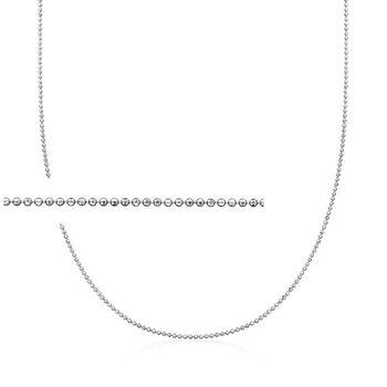 Italian 1mm Sterling Silver Adjustable Slider Bead Chain Necklace , , default