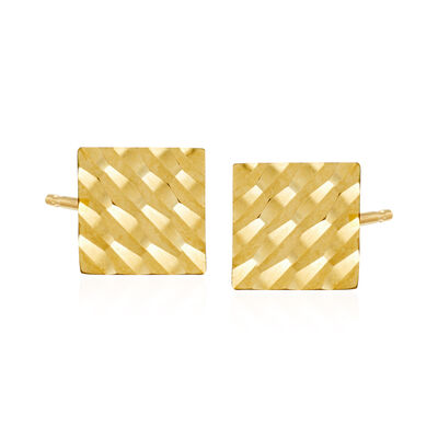 14kt Yellow Gold Diamond-Cut Square Stud Earrings