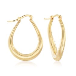 "Italian 18kt Yellow Gold Oval Twisted Hoop Earrings. 1 1/8"", , default"