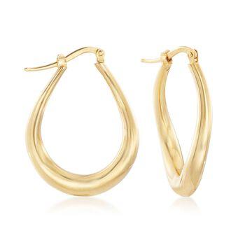 """Italian 18kt Yellow Gold Oval Twisted Hoop Earrings. 1 1/8"""", , default"""