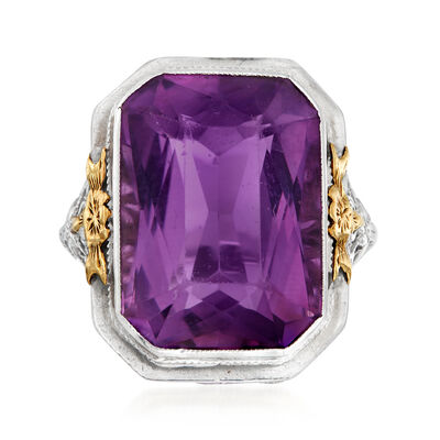 C. 1930 Vintage 14.40 Carat Amethyst Ring in 18kt White Gold, , default