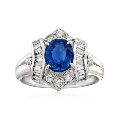 C. 1990 Vintage 1.47 Carat Sapphire and .47 ct. t.w. Diamond Ring in Platinum