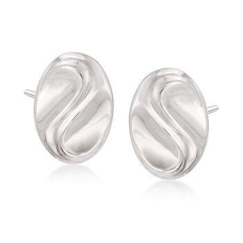 Italian Sterling Silver Wavy Oval Earrings , , default