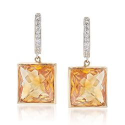 13.00 ct. t.w. Citrine and .18 ct. t.w. Diamond Drop Earrings in 14kt Yellow Gold, , default