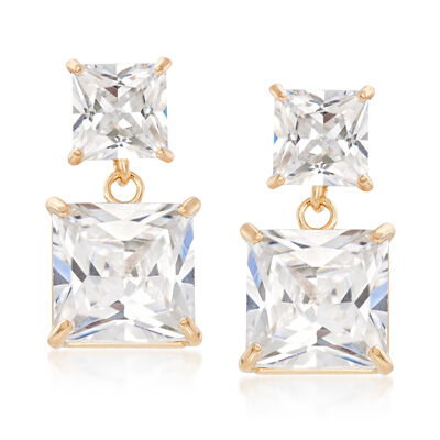 3.30 ct. t.w. Princess-Cut CZ Drop Earrings in 14kt Yellow Gold