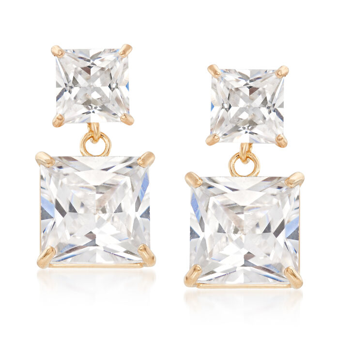 3.30 ct. t.w. Princess-Cut CZ Drop Earrings in 14kt Yellow Gold