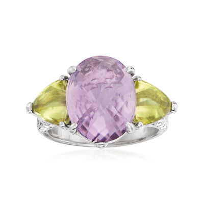 C. 2000 Vintage 5.50 Carat Amethyst and 1.50 ct. t.w. Green Quartz Ring with 1.06 ct. t.w. Diamond in 18kt White Gold