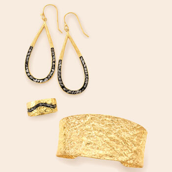 .89 ct. t.w. Rough-Cut Diamond Drop Earrings in 18kt Yellow Gold Over Sterling Silver, , default
