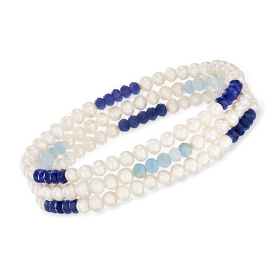 Cultured Pearl and Multi-Gemstone Jewelry Set: Three Stretch Bracelets with Sterling Silver, , default