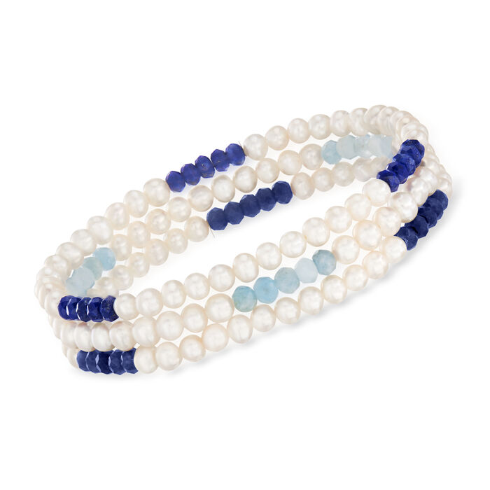 Cultured Pearl and Multi-Gemstone Jewelry Set: Three Stretch Bracelets with Sterling Silver