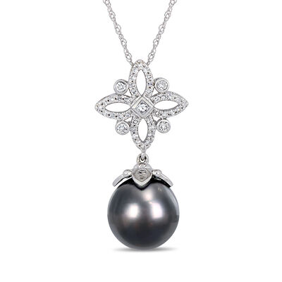 11-12mm Black Cultured Tahitian Pearl and .27 ct. t.w. Diamond Star Drop Necklace in 14kt White Gold