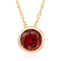 1.00 Carat Bezel-Set Garnet Solitaire Necklace in 14kt Yellow Gold, , default