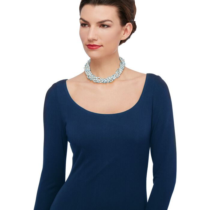 """Aquamarine Bead and 5-6mm Cultured Pearl Torsade Necklace with Sterling Silver. 18"""""""