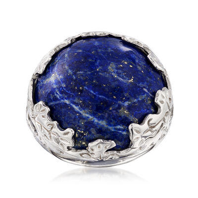 Italian Lapis Ring in Sterling Silver, , default