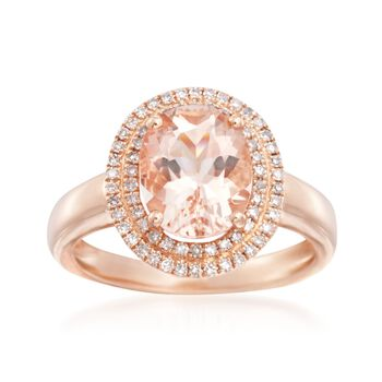 2.35 Carat Morganite and .30 ct. t.w. Diamond Ring in 14kt Rose Gold, , default
