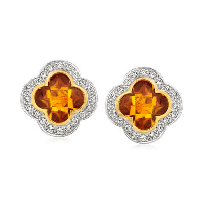 C. 1990 Vintage 3.10 ct. t.w. Citrine and .80 ct. t.w. Diamond Clover Earrings in 18kt Yellow Gold