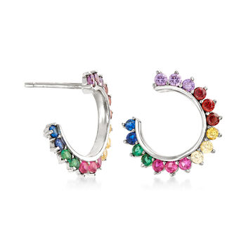 .85 ct. t.w. Multicolored CZ C-Hoop Earrings in Sterling Silver, , default