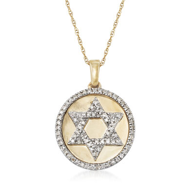 .16 ct. t.w. Diamond Star of David Pendant Necklace in 14kt Yellow Gold, , default