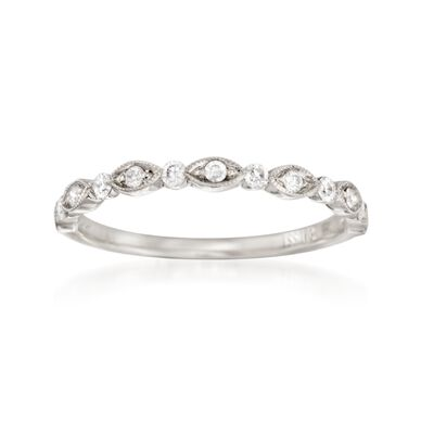 Henri Daussi .20 ct. t.w. Diamond Wedding Ring in 18kt White Gold, , default
