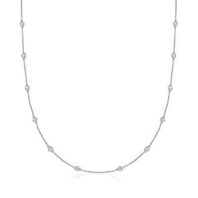 1.00 ct. t.w. Bezel-Set Diamond Station Necklace in 14kt White Gold, , default