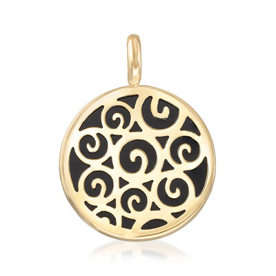 Black Onyx Swirl Pendant in 14kt Yellow Gold