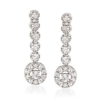 .50 ct. t.w. Diamond Circle Drop Earrings in 14kt White Gold , , default