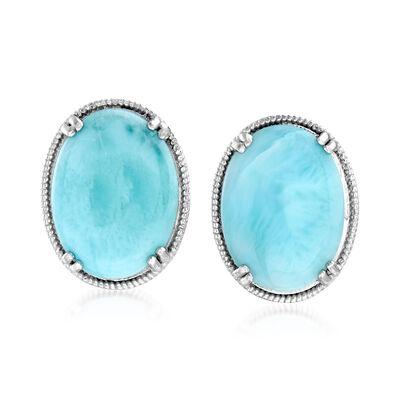 Larimar Filigree Stud Earrings in Sterling Silver, , default