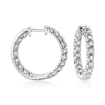 2.00 ct. t.w. Diamond Inside-Outside Hoop Earrings in Sterling Silver