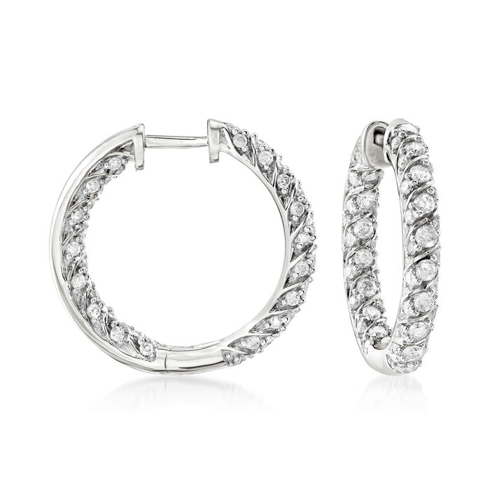 2.00 ct. t.w. Diamond Inside-Outside Hoop Earrings in Sterling Silver. 7/8""