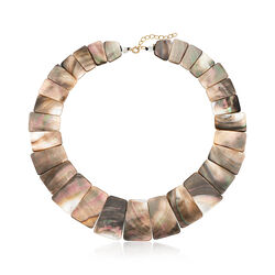 Graduated Black Mother-Of-Pearl Necklace With 14kt Yellow Gold, , default