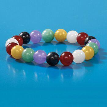 10mm Multicolored Jade and White Quartz Bead Stretch Bracelet, , default