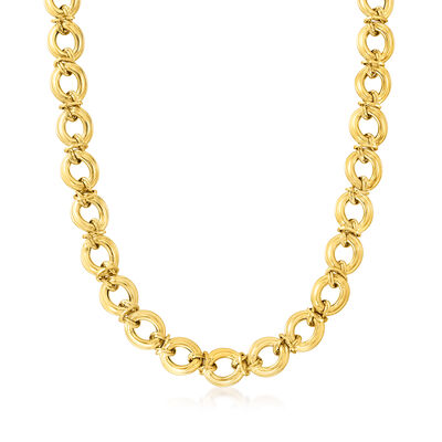 Italian 14kt Yellow Gold Large-Link Necklace